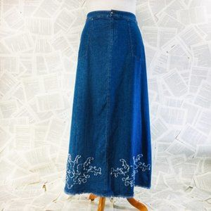 Soft Surroundings Jean Maxi Skirt Tall Medium